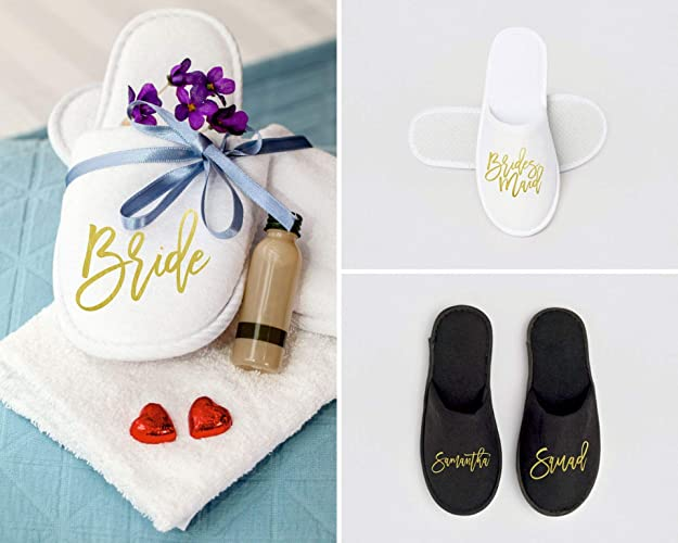 0bbc73e45 Amazon.com  Bridesmaid Slippers (Personalized) for Getting Ready on Wedding  Day  Gift for Girls Getaway