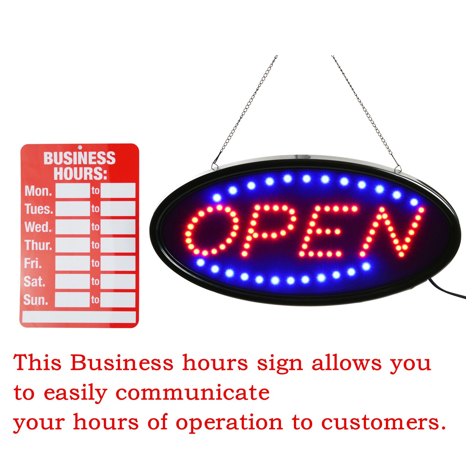 Open LED Sign,LED business open sign advertisement board Electric Display Sign,Light Up Sign 18.9''x9.84'' Flashing & Steady light, for business, walls, window, shop, bar, hotel (Blue+Red) by Datedirect (Image #2)