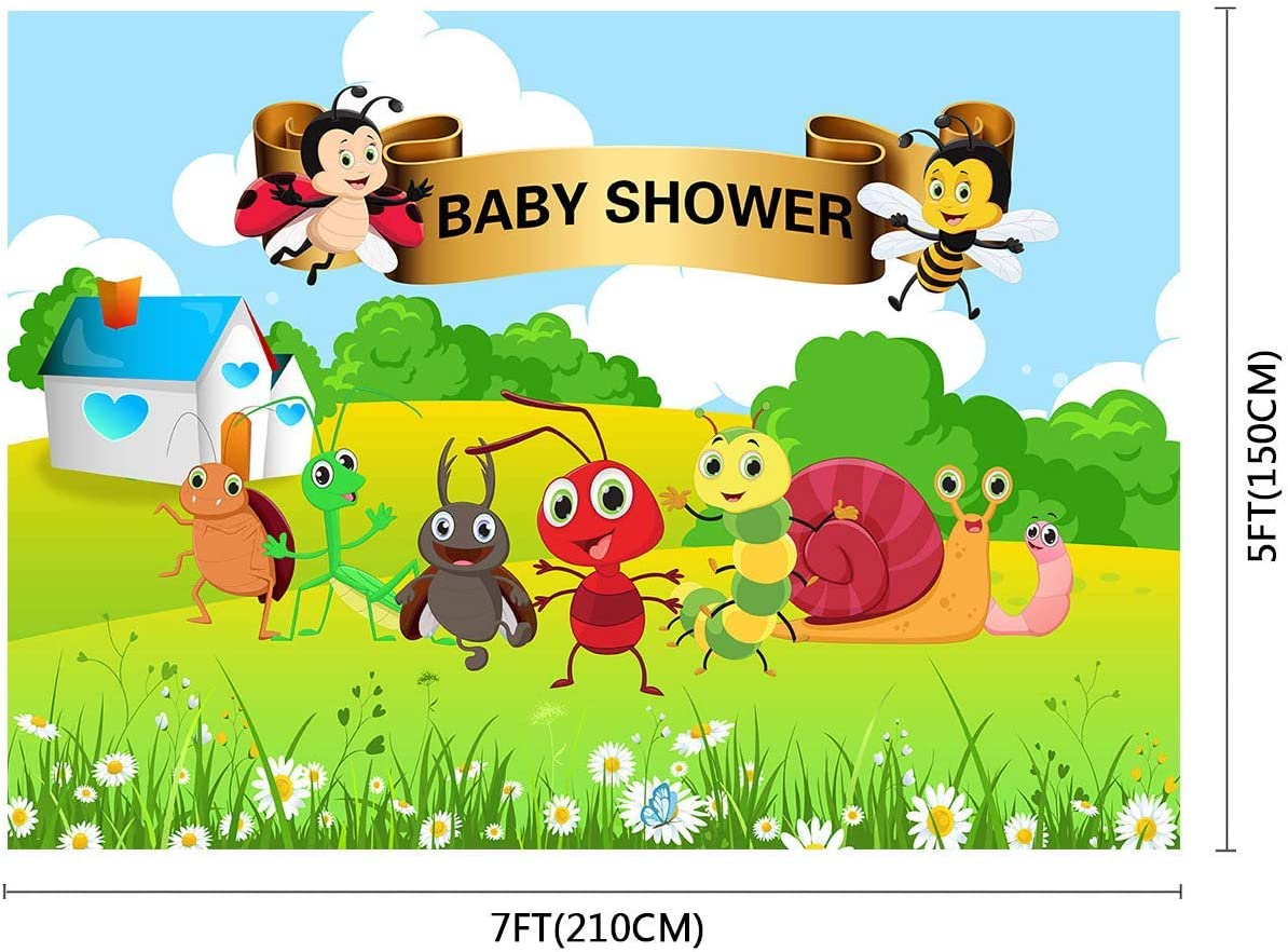 10x8ft Baby Shower Background Bee Worm Small Animal Party Photography Backdrop Kids Newborn Photo Props LYFU586