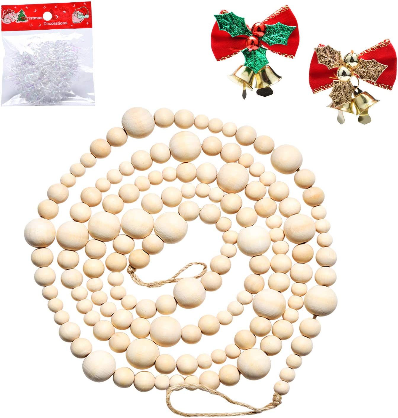 Abitoncc 7.2ft Wooden Beaded Garland Christmas Wood Bead Garland Farmhouse Home Decor Rustic Country Natural Holiday Garland Wall Hanging Prayer Beads(Wood Color)