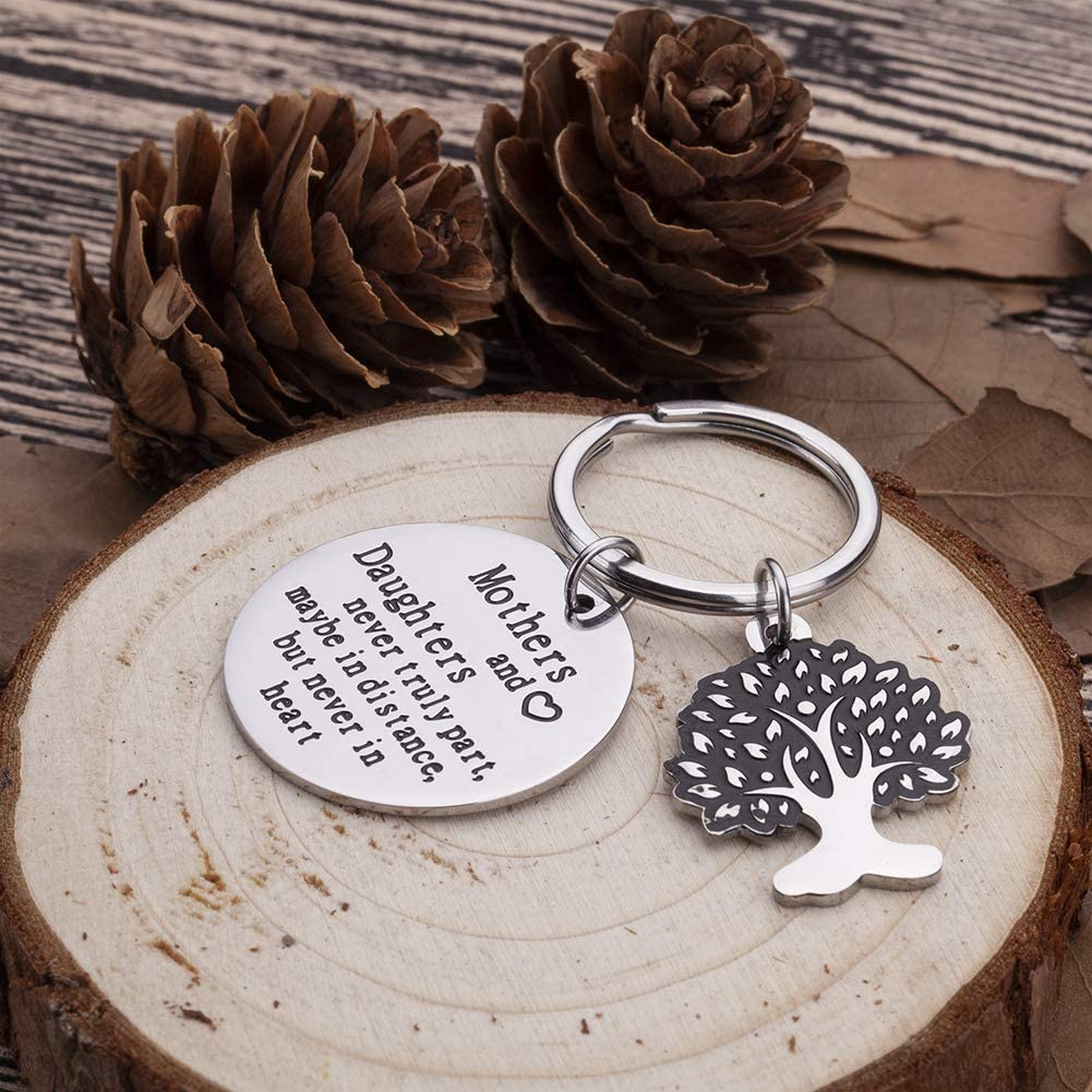 Mothers Day Gifts Keychain For Mom Mothers And Daughters Never Truly Part Mom From Daughter Gifts For Women Birthday Wedding Keyring Bonding Parting Graduation Gifts Keepsake From Mom Daughter