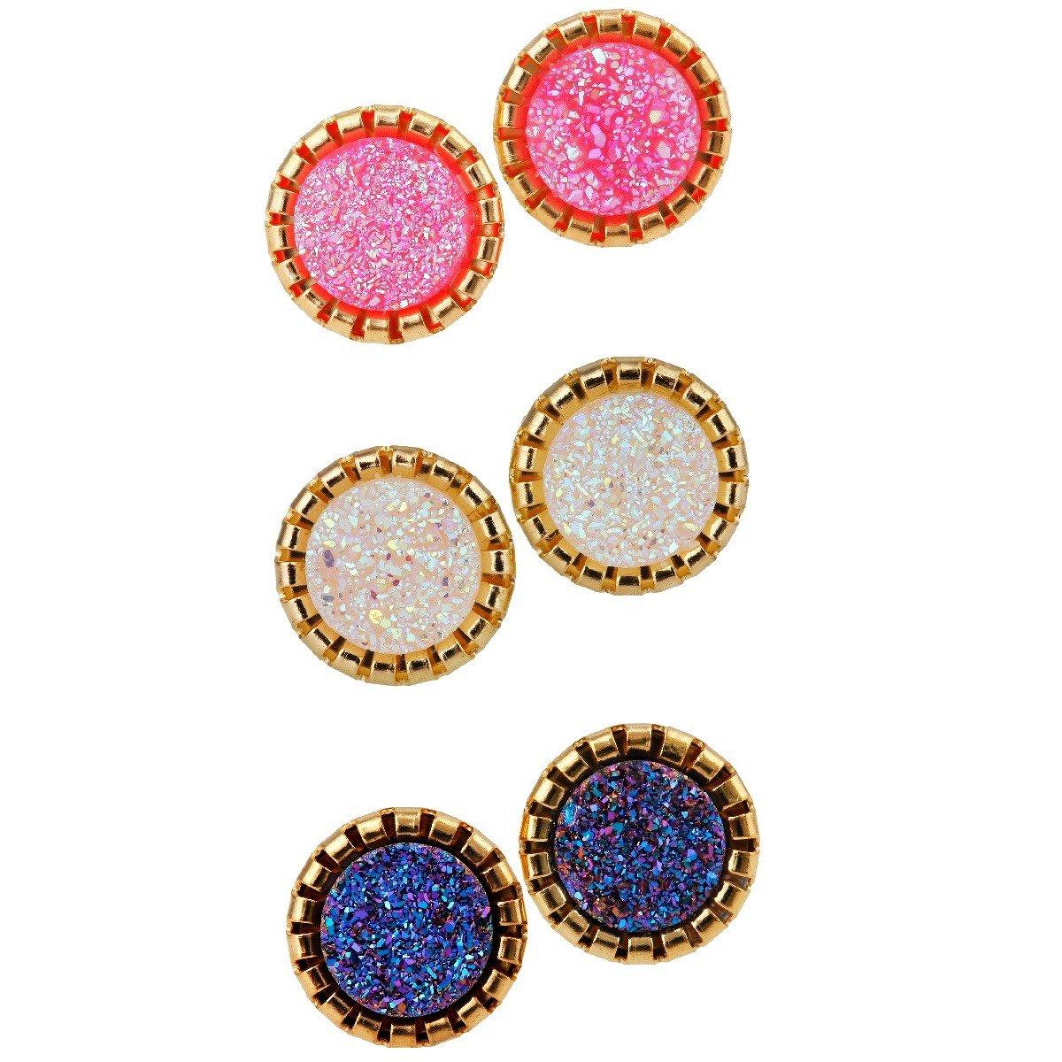 SUNYIK Pink/White/Blue Purple AB Aura Titanium Coated Geode Druzy Stud Earrings,Pack of 3