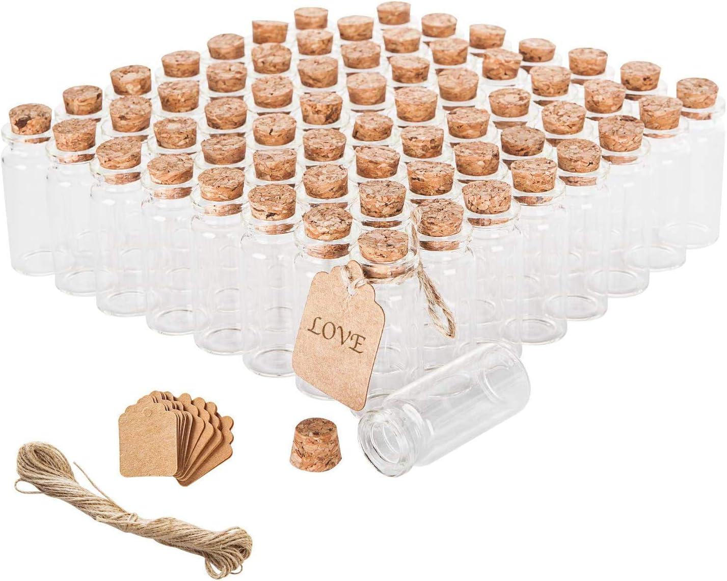 Mini botellas de vidrio para artesania (Pack de 64, 5cm alt)