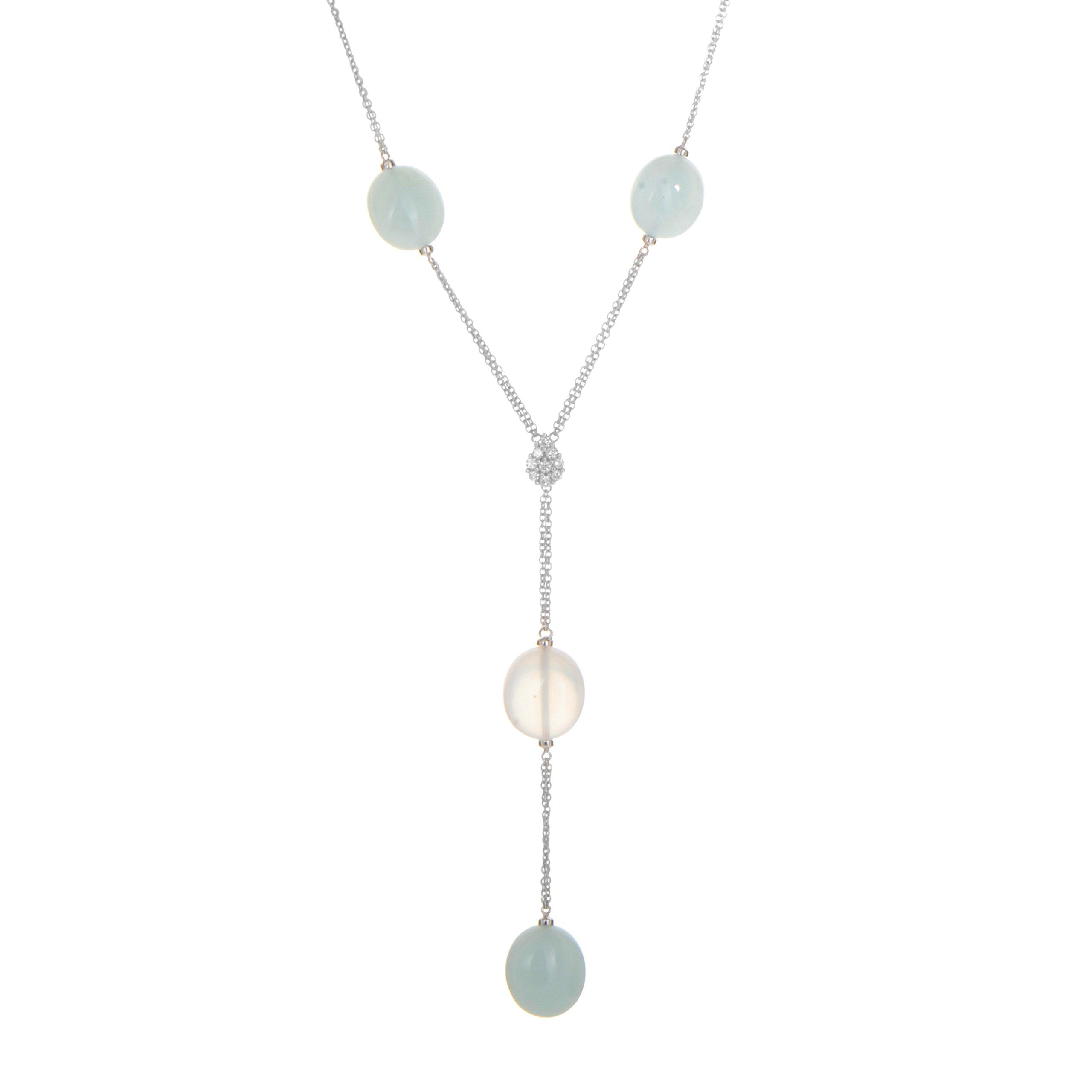 Damiani 18K White Gold Gemstone & Diamond Lariat Style Necklace 20014798