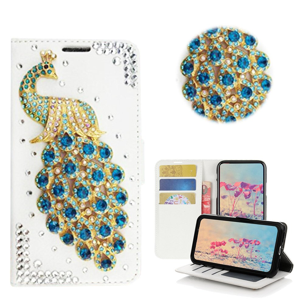 STENES LG V20 Case - Stylish - 3D Handmade Bling Crystal Peacock Desgin Wallet Credit Card Slots Fold Media Stand Leather Cover Case - Green