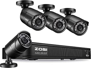 ZOSI 1080p H.265+ PoE Home Security Camera System Outdoor Indoor,8CH 5MP PoE NVR Recorder and (4) 1080p Surveillance Bullet IP Cameras with 120ft Long Night Vision ( No Hard Drive Included)