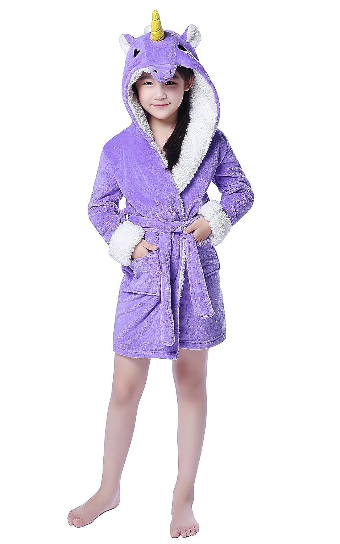 NEWCOSPLAY Children Unicorn Bathrobe Robe Cosplay Hooded Pajamas