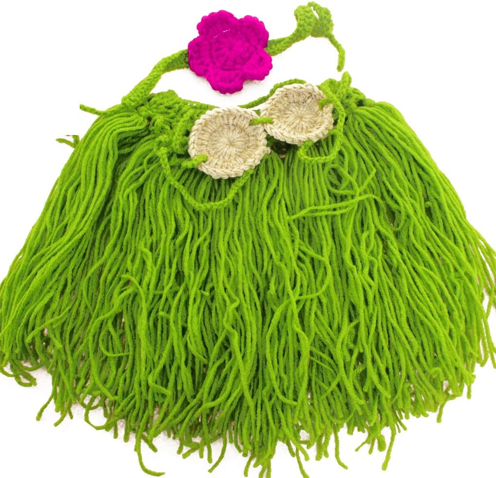 Qingfaqui La fotografía apoya recién Nacido del bebé Crochet Leche Hilo de algodón Hawaii Grass Skirt Equipos de Fotos Traje Ropa para Regalo