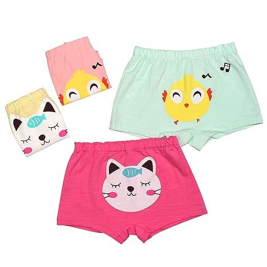 BOOPH Girls Underwear Boyshort Pack Of 4 Toddler Panties Cute Cartoon Cat Chicken Hispster 2-