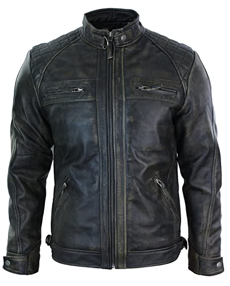 3d967b7b8365 Aviatrix Mens Retro Zipped Biker Jacket Real Leather Washed Soft Black  Brown Vintage: Amazon.co.uk: Clothing