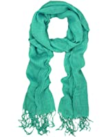 TrendsBlue Elegant Solid Color Viscose Fringe Scarf , Teal