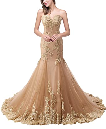 9732c570c6a8 DarlingU Women s Mermaid Sweetheart Beaded Evening Dress Applqiues Sequins  Prom Formal Gowns Dark Champagne 2