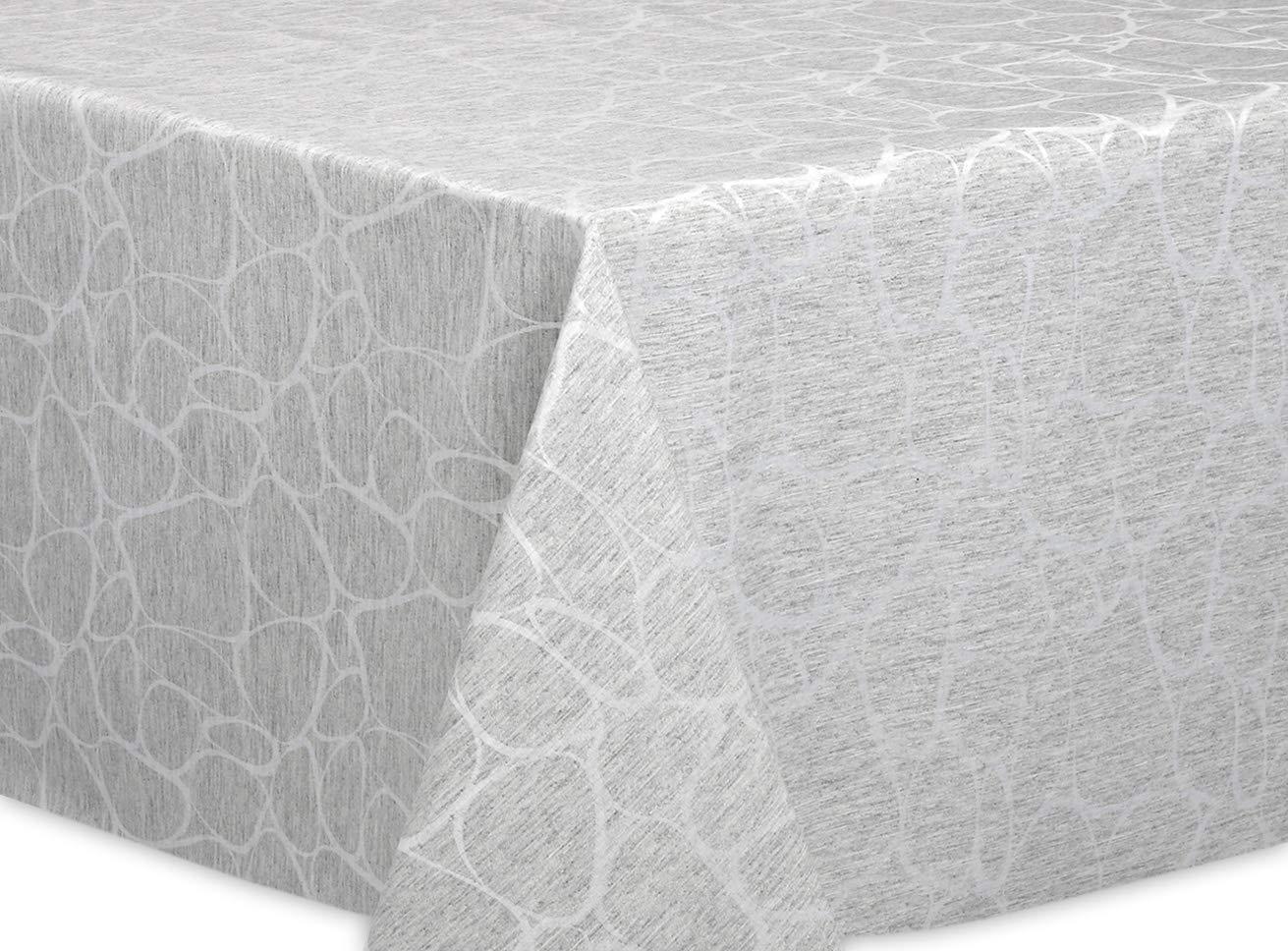 Beautex Jacquard Stoff Tischdecke mit Lotus Effekt abwischbar, Motiv und Größe wählbar, oval 140 x 260 cm, Linado Silbergrau B07J2N1PS8 Tischdecken