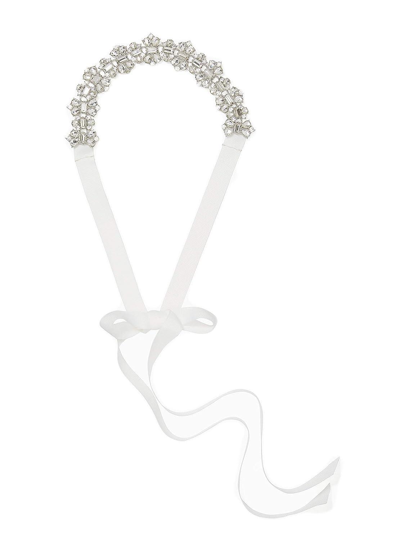 Kate Spade New York Womens 3//4 Stone Bridal Belt with Grosgrain Ties Bridal Cream//Crystal//Pol Nickel SM//MD