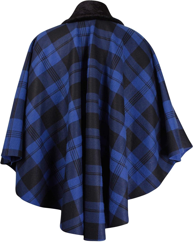 Purple Hanger Womens Plus Size Check Print Ladies Faux Fur Fleece Collared Tie Poncho Cape Coat Royal Blue