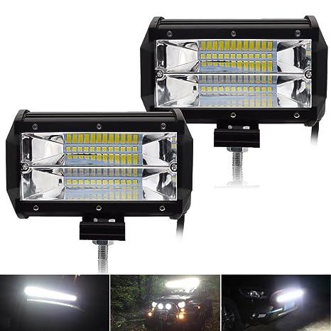 Car Lights High Power Waterproof Quad Rows 6500k 2 Pieces 4 Inch 72w Ip67 Led Work Light 12v 24v Offroad Atv Utv Suv Boat Clients First Light Bar/work Light