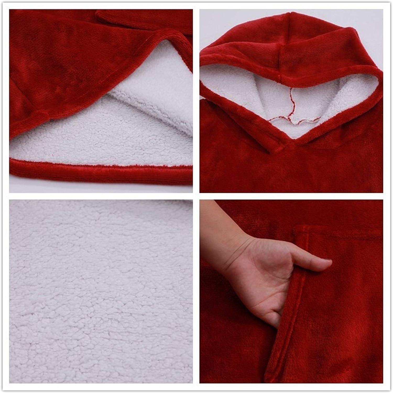 ZHBD Robes Winter-Frauen-Sweatshirt Warm Taschen Decken im Freien Langen Hoody for Frauen-Mantel Plüsch Maxi-Sweatshirt 92.25D (Color : G) D