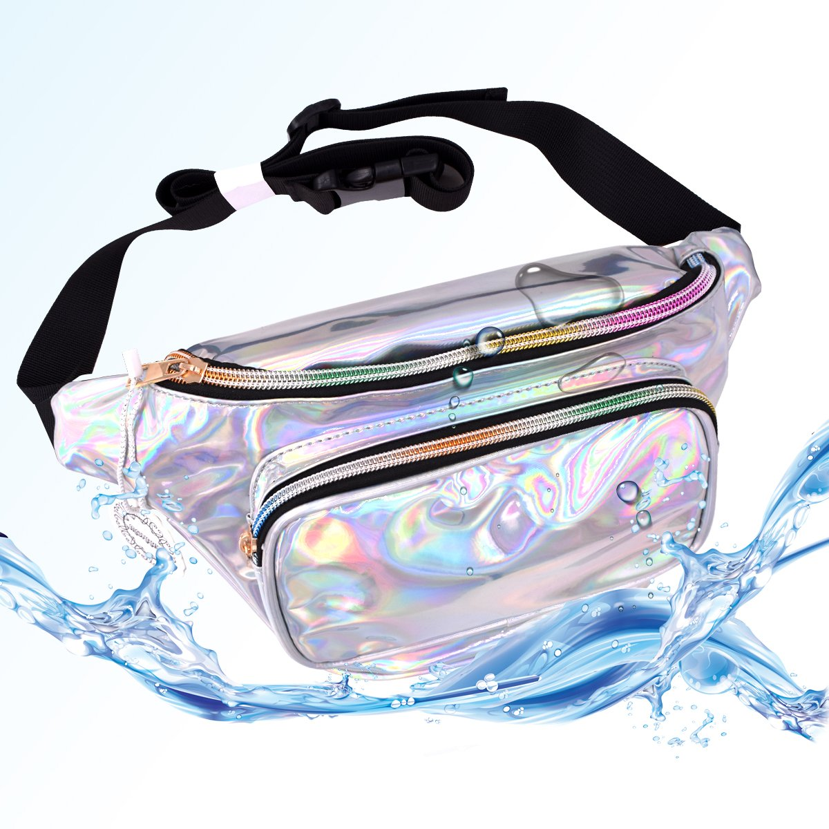 Water Resistant Shiny Neon Fanny Bag for Women Rave Festival Hologram Bum Travel Purse Waist Pack by MOHARY (Image #2)