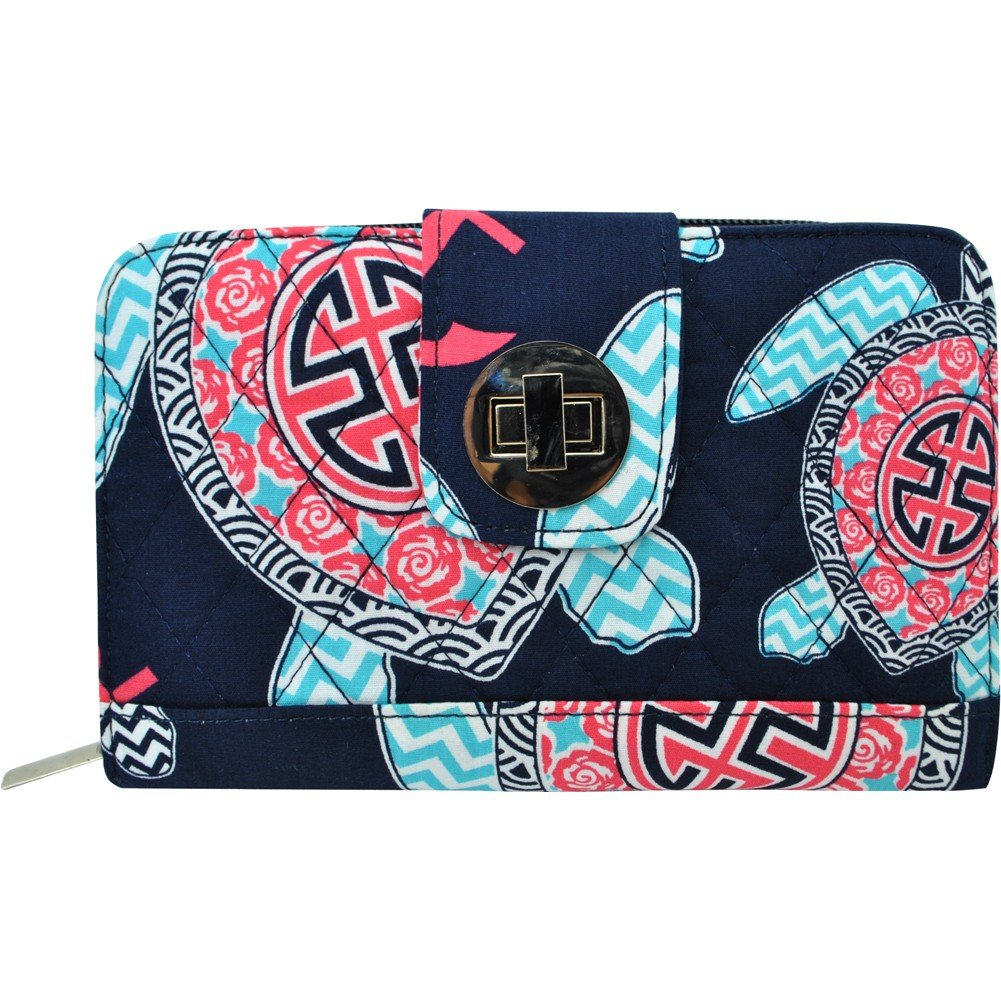 Sea Turtle Anchor Print NGIL Quilted Twist Lock Wallet