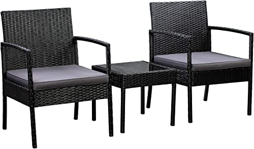 Amazon Basics Outdoor Patio Garden Faux Wicker Rattan Chair Conversation Set
