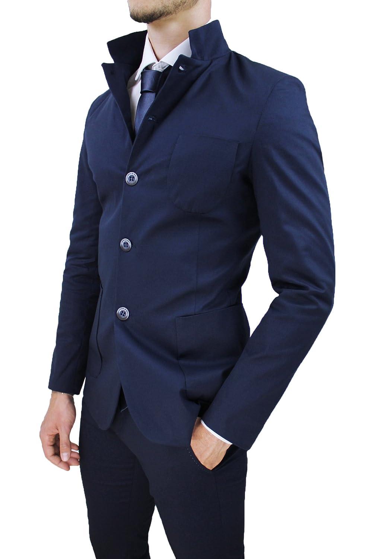 Abito completo uomo sartoriale blu scuro casual in cotone 100% made in  Italy con cravatta ingrandisci 4746f2417b1
