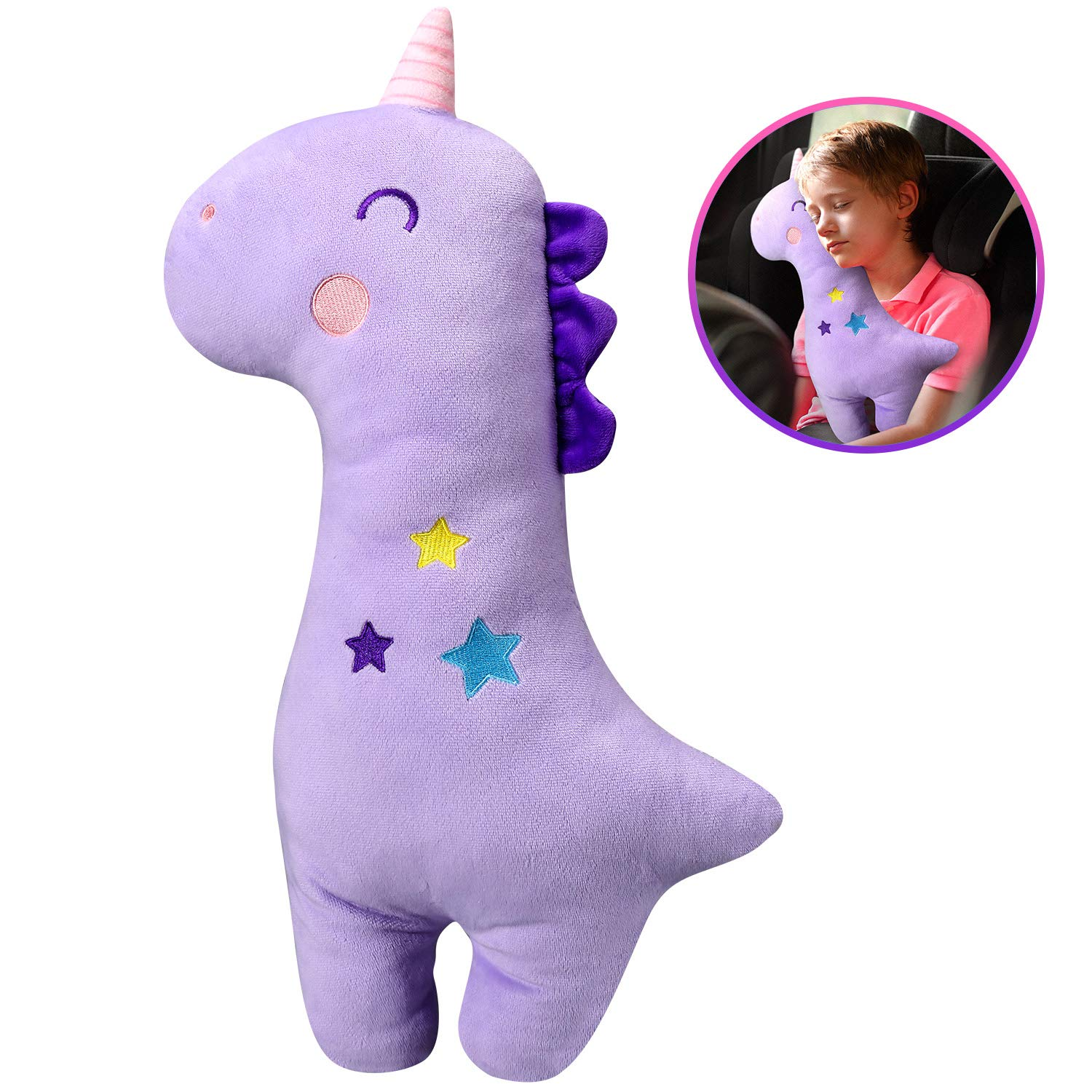 Unicorn Seat Belt Pillow Kids - Unicorn Seat Belt Cover, Vehicle Shoulder Pads, Safety Belt Protector Cushion for Kids, Animal Travel Pillow (Purple) by Farochy