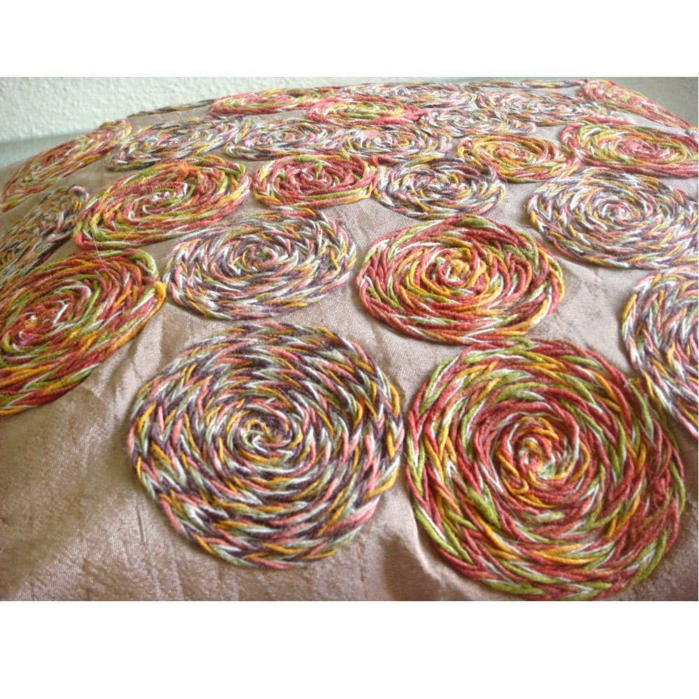 Rust Pillow Covers 16x16 inches, Designer Light Rust Pillows Cover, Colorful Spiral Jute Pillows Cover, 16''x16'' Pillow Covers, Square Silk Pillows Cover, Floral Contemporary Pillow Cases-Spring Dance by The HomeCentric (Image #2)