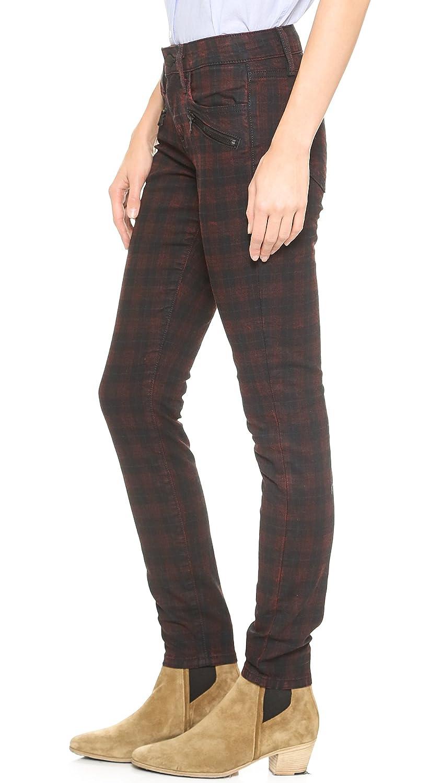 Joe's Jeans Women's in Line Zip Skinny in Coated Red Plaid