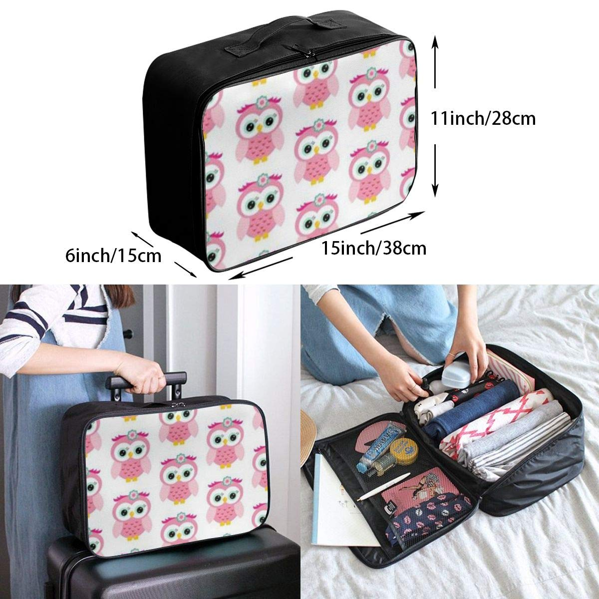 ADGAI Pink Owls Canvas Travel Weekender Bag,Fashion Custom Lightweight Large Capacity Portable Luggage Bag,Suitcase Trolley Bag