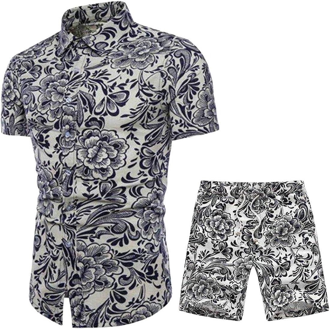 ARTFFEL Men Short Sleeve Button Up Floral Print Slim Fit Plus Size Shirts /& Beach Shorts Outfits