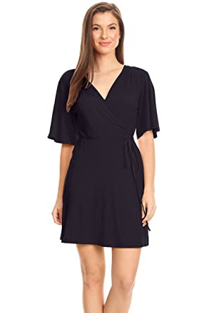 cdbafba57d6d Navy Blue Wrap Dress for Women Reg and Plus Size Loose A Line Flared Sleeve  Sexy