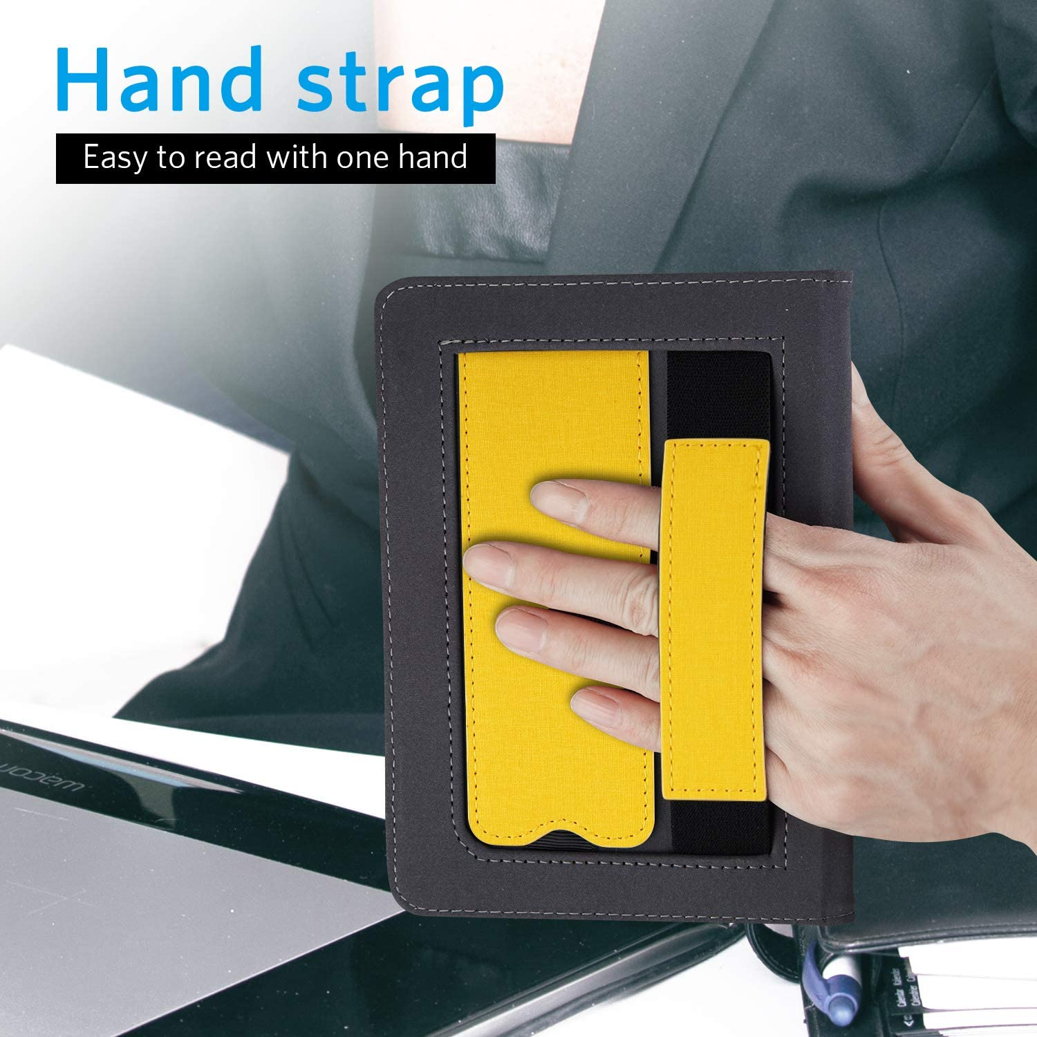 ONLY Fits All New Kindle Paperwhite 10th Generation 2018 Released,Jeans Yellow Hand Strap Feature CoBak Kindle Paperwhite Case with Stand Durable PU Leather Smart Cover with Auto Sleep Wake