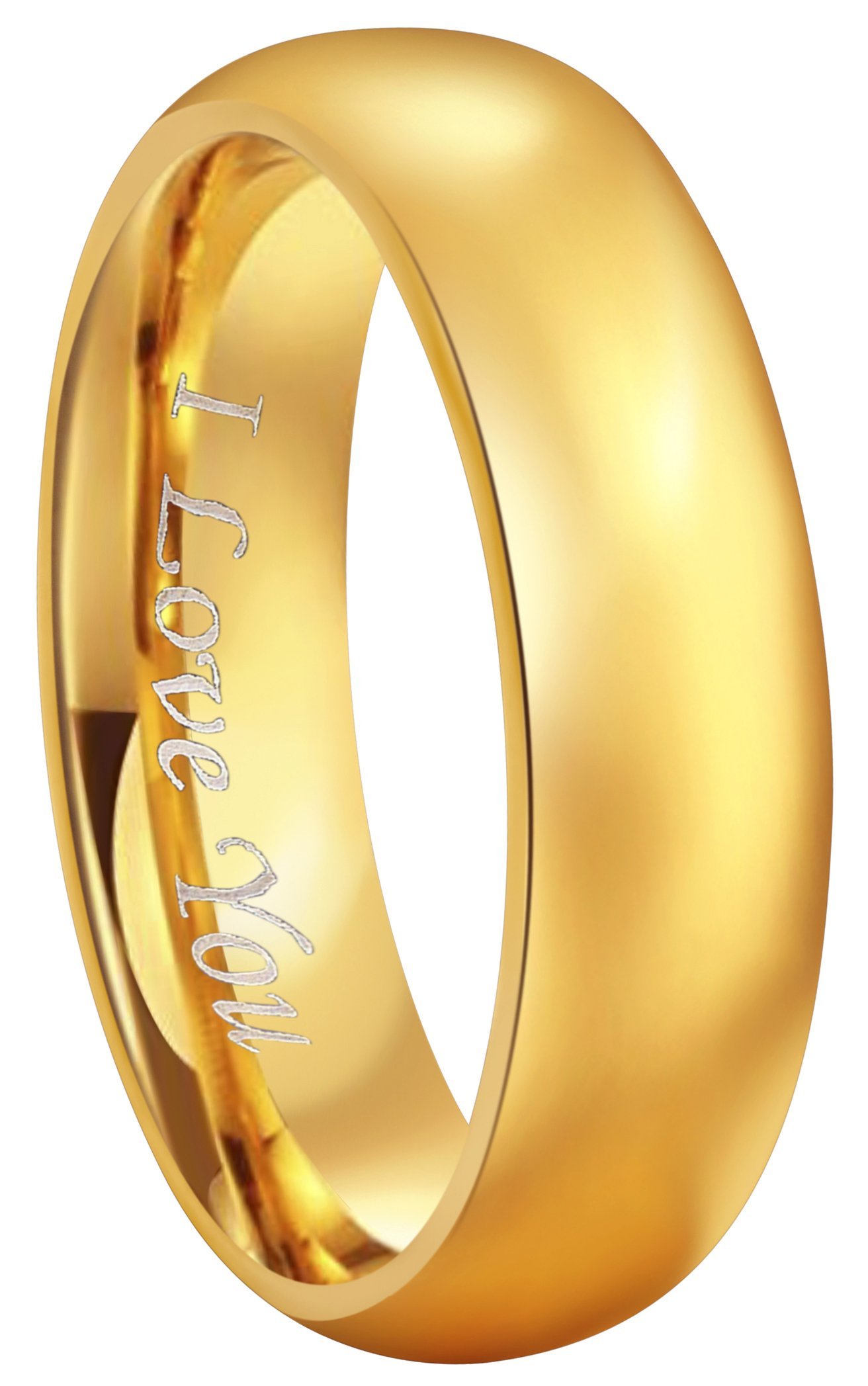 CROWNAL 4mm 6mm 8mm Tungsten Wedding Couple Bands Rings Men Women 24K Gold Plated Plain Dome Polished Engraved I Love You Size 4 To 17 (6mm,9.5)