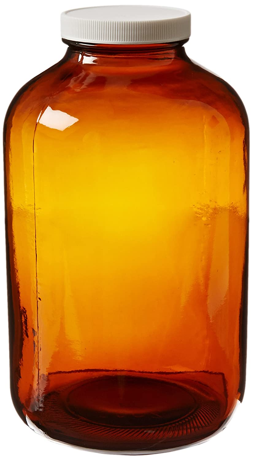 JG Finneran 9-226-2 Amber Borosilicate Glass Precleaned Wide Mouth Packer with White Polypropylene Closure and 0.015 PTFE Lined Pack of 4 70-400mm Cap Size 80oz Capacity