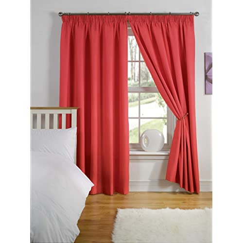Simply Style Red Thermal Backed Readymade Curtain Pair 46x54in(116x137cm)