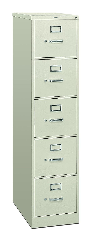 26-1//2d HON 5-Drawer Filing Cabinet 310 Series Full-Suspension Letter File Cabinet Light Gray H315