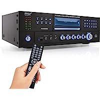 4-Channel Wireless Bluetooth Power Amplifier - 1000W Stereo Speaker Home Audio Receiver w/ FM Radio, USB, Headphone, 2…
