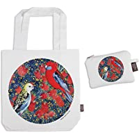 The Linen Press Designer Canvas Shopping Tote Bag and Matching Purse Set – theme: Bottle Brush Party on a White…