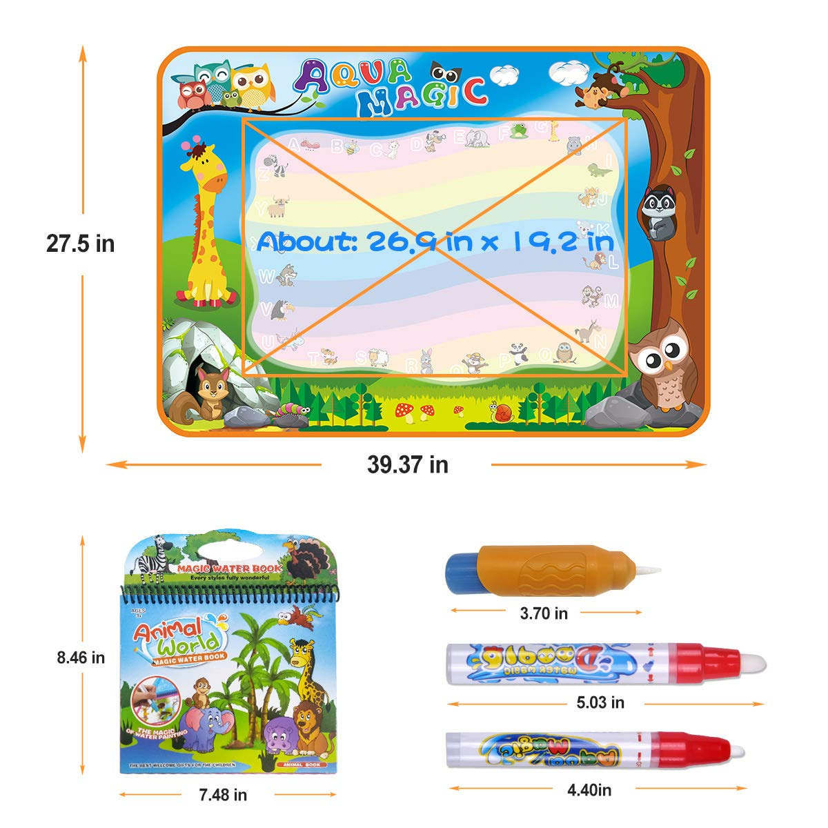 7 Colors Kids Educational Travel Toy Gift for Boys Girls Toddlers Meland Large Water Doodle Mat Aqua Doodle Mat 39.37 x 27.5 inch with 4 Water Pens and 8 Molds and a Water Coloring Book