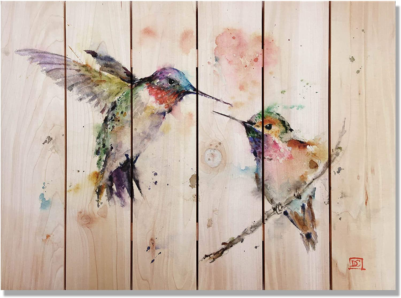 CELYCASY Love Birds Watercolor on Cedar, Colorful Hummingbird, Indoor and Outdoor Decor, Wall Decor by Dean Crouser (DCLB22163324)