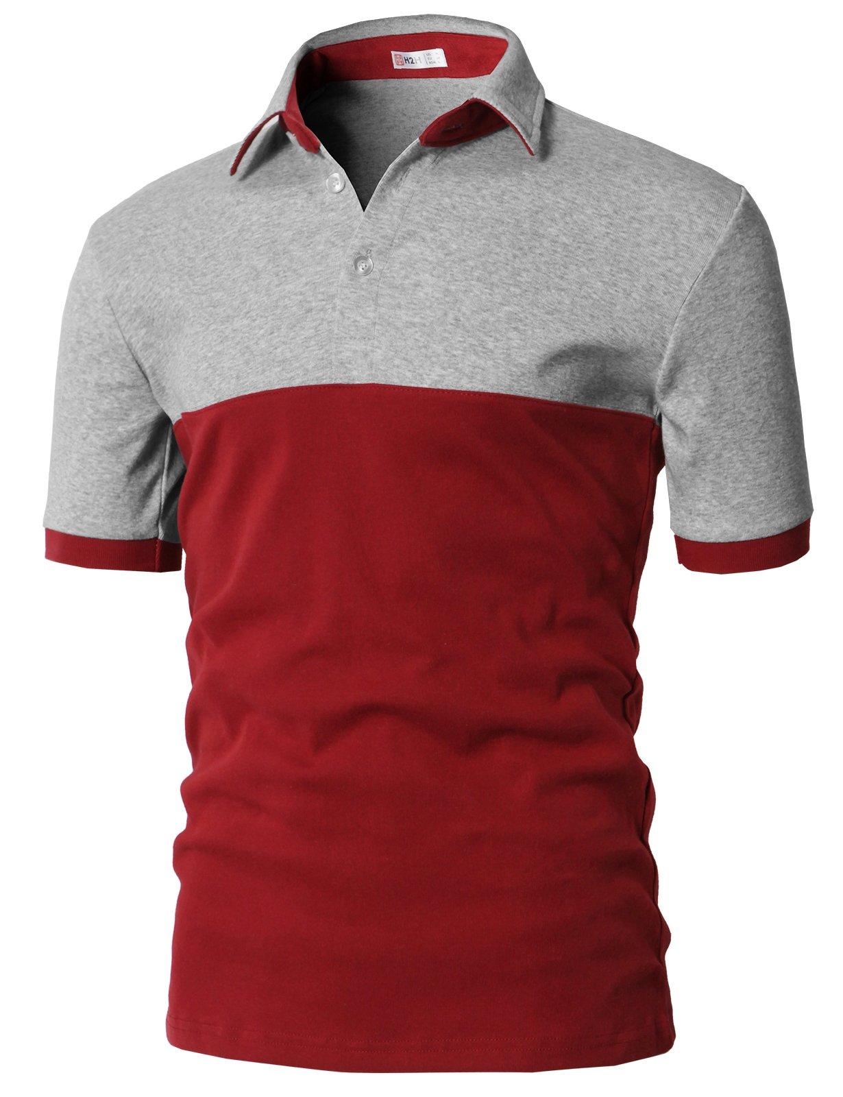 H2H Mens Fine Cotton Polo T-Shirts Gray US XL/Asia 2XL (KMTTS0554)