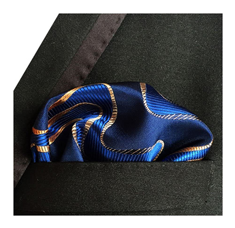 New men/'s polyester woven striped blue hankie pocket square formal party