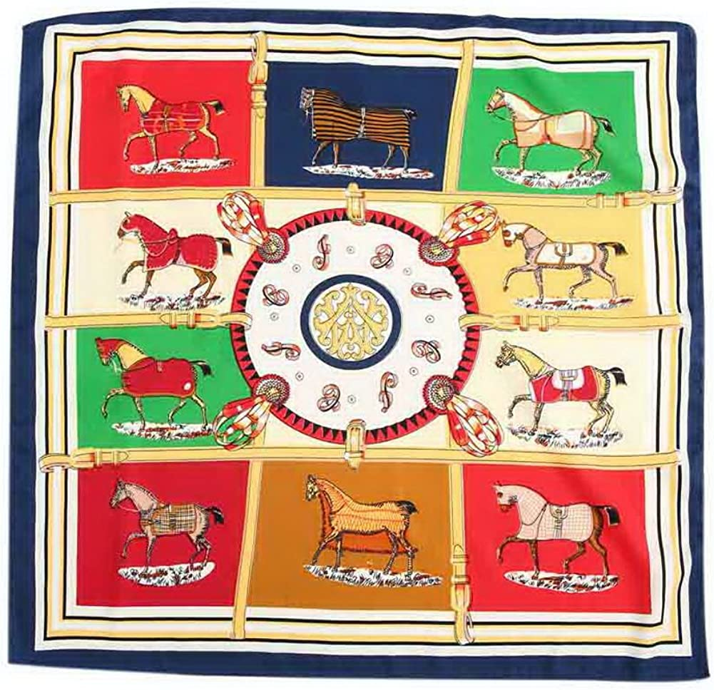 Lovely Square Scarves Fashion Girls Accessory Decorative Scarf Horses Navy Brim