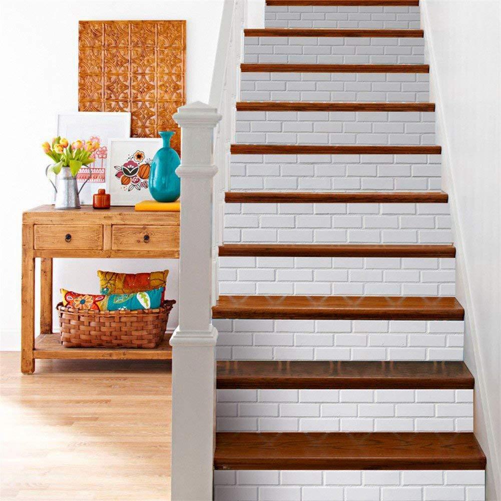 Cikuso D/écor Creative 3D Escalier Autocollants Bricolage Escalier Autocollant Peintures Murales Imperm/éable Carrelage Risers Escalier Autocollant Bricolage Amovible Peler 6 Pcs//Set