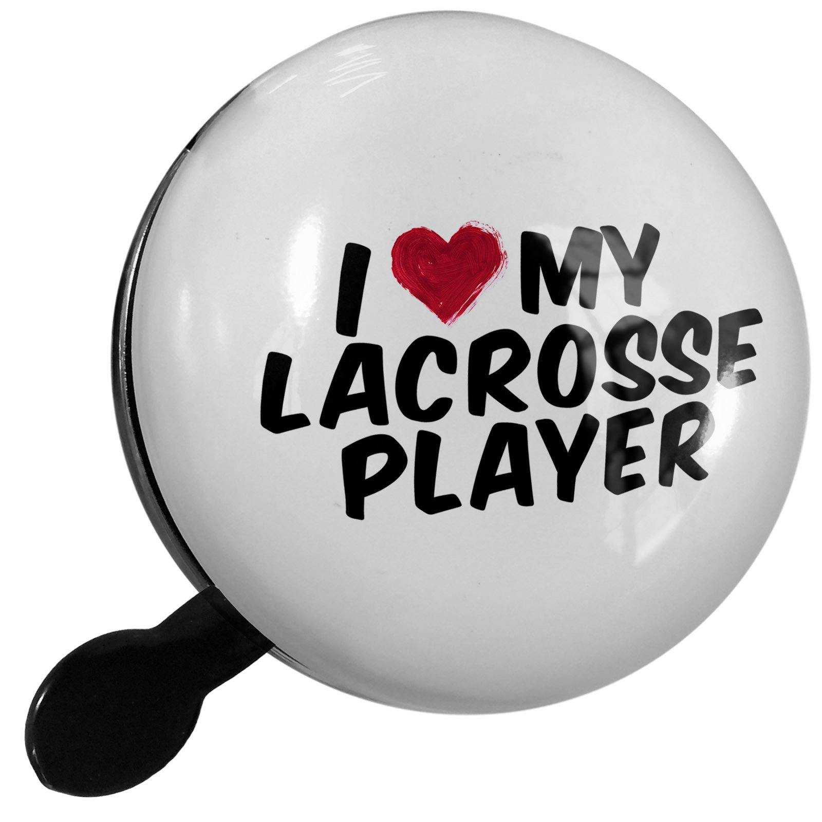 Small Bike Bell I heart love my Lacrosse Player - NEONBLOND
