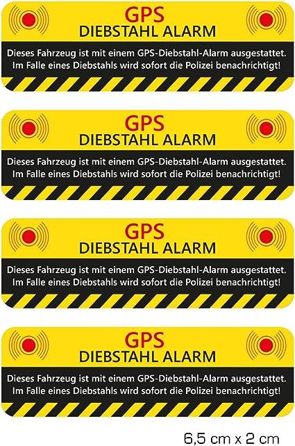 Wandkings Aufkleber Gps Diebstahl Alarm Warnaufkleber Für Ihr Fahrzeug 4 Stück Küche Haushalt