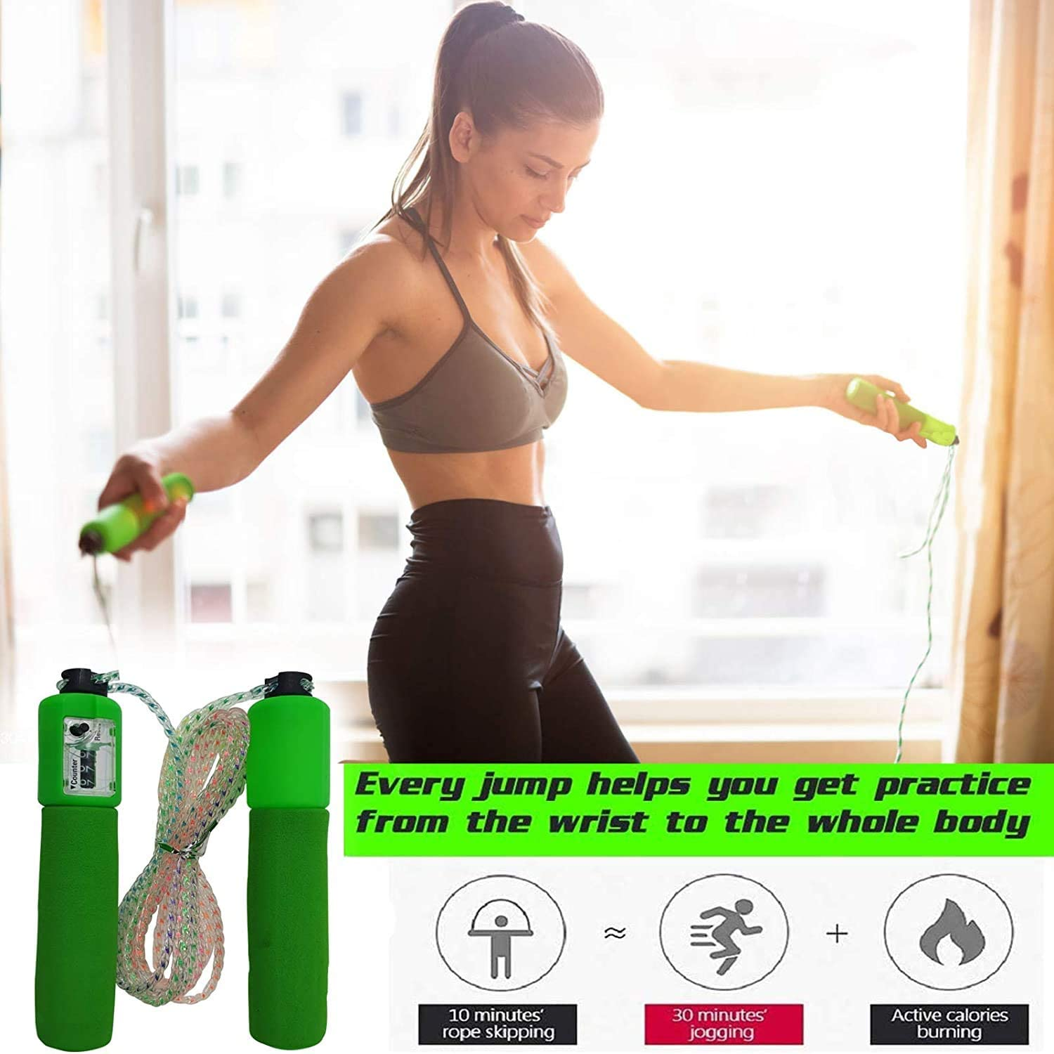 Kids Adults Men Women Daily Workout Exercise Equipment GAX Skipping Adjustable Jump Rope Lightweight Fitness Jumping Ropes Foam Handles Digital Counter