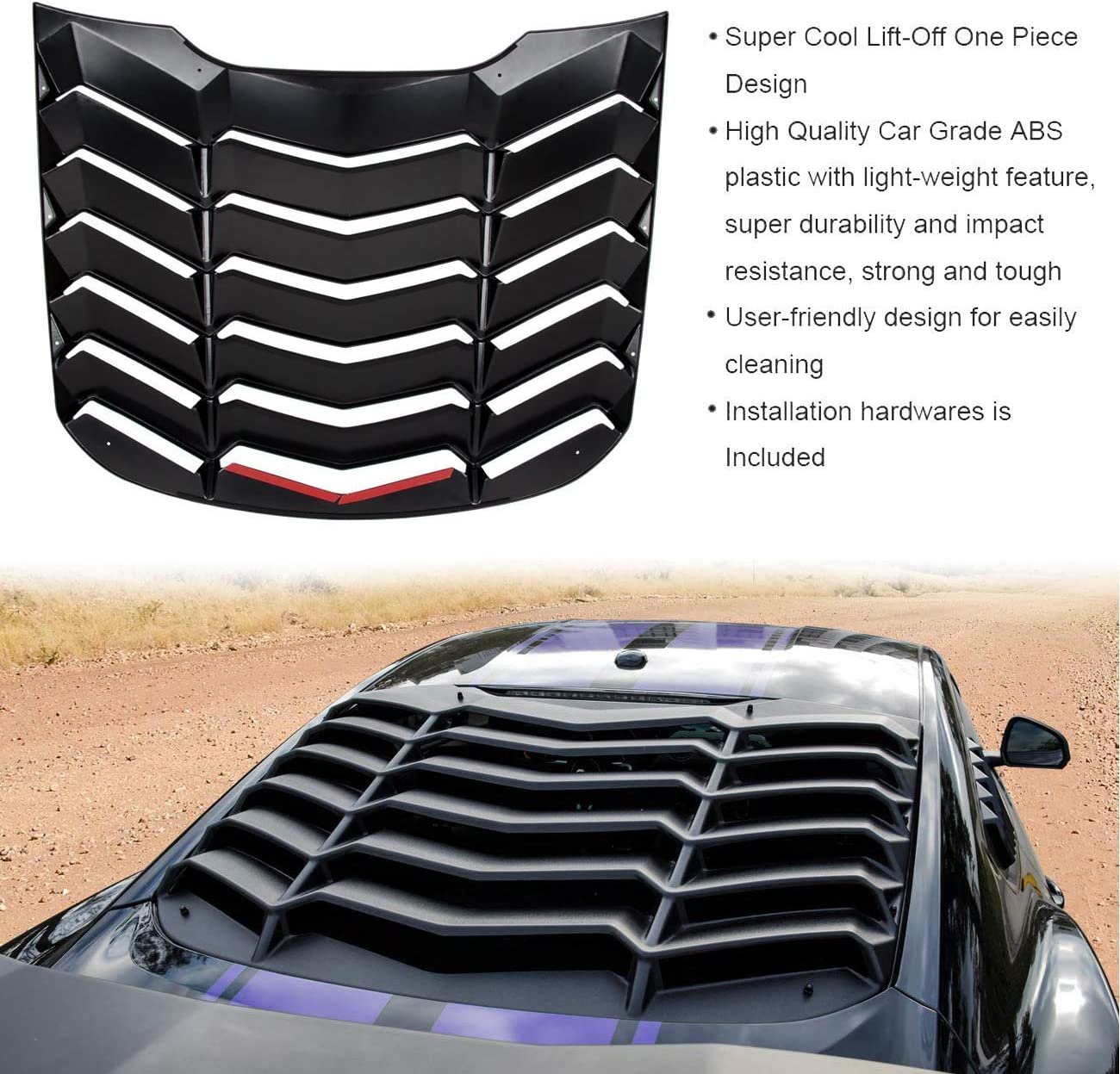 Rear Window Louvers Windshield Sun Shade Cover in GT Lambo Style for Ford Mustang 2015 2016 2017 2018 2019 2020