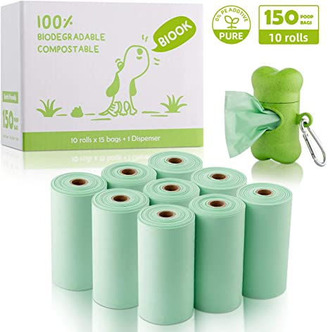 BIOOK Bolsas Caca Perro 100% Biodegradable con 1 Dispensador ...