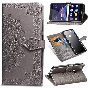 Funda para Huawei P8 Lite 2017 Billetera PU,Uposao Slim Flip Case Libro Funda de Cuero Leather Retro Elegante Mandala Carcasa Soporte Plegable Cierre Magn/ético Tapa Folio PU Funda Huawei P8 Lite 2017